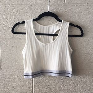 Ribbed super comfy white sports bra top